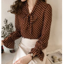 Lace / Chiffon Autumn of 2018 M,L,XL,2XL,3XL,4XL Long sleeves commute Socket singleton  easy V-neck Dot pagoda sleeve 18-24 years old Other / other bow Korean version