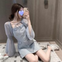 Dress Autumn 2020 blue S, M Short skirt singleton  Long sleeves square neck High waist Solid color Socket A-line skirt pagoda sleeve Others 18-24 years old Type A Splicing 51% (inclusive) - 70% (inclusive) other