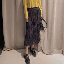 skirt Summer 2021 One, two, three, four, five black Mid length dress commute High waist High waist skirt Solid color Type H 30-34 years old More than 95% other O'amash banner acrylic fibres Three dimensional decoration