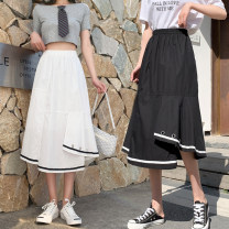 skirt Spring 2021 Average size White, black Mid length dress Retro High waist Irregular Solid color Type A 18-24 years old 51% (inclusive) - 70% (inclusive) other polyester fiber 201g / m ^ 2 (including) - 250G / m ^ 2 (including)