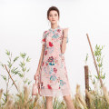 Dress Summer of 2019 Pink M,L,XL,2XL Mid length dress singleton  Short sleeve commute Half high collar middle-waisted other Socket A-line skirt routine Others 25-29 years old Type A Retro Stitching, printing More than 95% silk