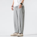 Casual pants Others Youth fashion M,L,XL,2XL,3XL,4XL,5XL routine trousers Other leisure easy No bullet summer youth Chinese style 2020 Medium low back Straight cylinder Cotton 70% flax 30% Haren pants Pocket decoration washing Solid color Fine canvas cotton Cotton and hemp Non brand
