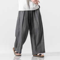 Casual pants The story of Fengting Youth fashion White, dark gray, black, Navy, dark brown M,L,XL,2XL,3XL,4XL,5XL thin trousers Other leisure Straight cylinder K73 summer Large size Japanese Retro 2019 Medium low back horn Haren pants Inlay / stick washing Solid color hemp Hemp cotton