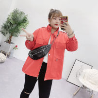 Women's large Autumn of 2019 Large XL, 2XL, 3XL, 4XL Jacket / jacket singleton  commute easy moderate Cardigan Long sleeves Solid color Medium length polyester fiber