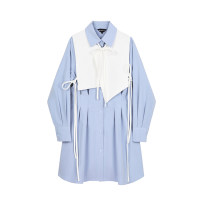 Dress Autumn 2020 Ice blue S,M,L Mid length dress singleton  Long sleeves commute square neck Loose waist Single breasted routine Type H Lace up, button