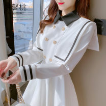 Dress Winter 2020 White, black S,M,L,XL Short skirt singleton  Long sleeves commute Polo collar High waist Solid color double-breasted A-line skirt routine Others 18-24 years old Type A Dream peach Korean version bow MXT15916 More than 95% other