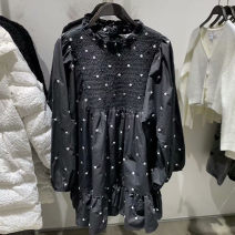 Dress Spring 2021 black S,M,L Short skirt singleton  Long sleeves commute Crew neck middle-waisted Solid color Socket A-line skirt routine 25-29 years old Type A UTHMUR Korean version Splicing 51% (inclusive) - 70% (inclusive) polyester fiber