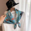 Scarf / silk scarf / Shawl Imitation silk Pocket pattern 70 Scarf - blue, pocket pattern 70 Scarf - Green Spring and autumn, summer, winter female Scarves / scarves decorate Korean version Small square towel other printing 70cm 70cm More than 96%