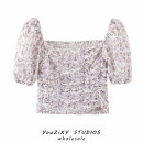 shirt Decor S,M,L Summer 2020 other 71% (inclusive) - 80% (inclusive) Short sleeve street square neck puff sleeve Broken flowers High waist type printing Europe and America