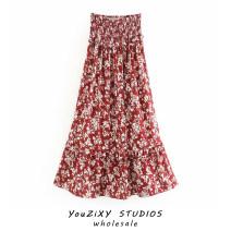 skirt Summer 2020 S,M,L Decor Mid length dress street High waist Ruffle Skirt Decor Type A Fold, splice Europe and America