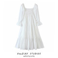 Dress Spring 2021 white S,M,L longuette singleton  Long sleeves Sweet square neck High waist Solid color Socket A-line skirt routine Type A Splicing cotton Bohemia