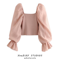 shirt Pink, black S,M,L Summer 2020 other 71% (inclusive) - 80% (inclusive) Long sleeves street Short style (40cm < length ≤ 50cm) square neck Socket pagoda sleeve Solid color Self cultivation Splicing Europe and America