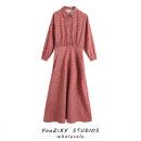Dress Autumn 2020 Decor XS,S,M,L longuette singleton  Long sleeves street Dot Socket Splicing Europe and America