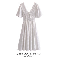Dress Summer 2021 white XS,S,M,L longuette singleton  Short sleeve street Doll Collar Solid color Socket puff sleeve Gouhua, hollow out, lace up, embroidery Europe and America