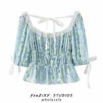 shirt Decor S,M,L Summer 2020 other 71% (inclusive) - 80% (inclusive) Short sleeve commute Regular square neck Socket puff sleeve Broken flowers High waist type literature Lace up, stitching