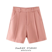 Casual pants Blue, skin pink S,M,L Autumn 2020 shorts Flared trousers High waist street routine Europe and America