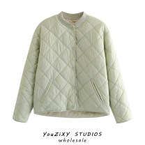 Cotton padded clothes Green, khaki, black S,M,L Autumn 2020 Other / other have cash less than that is registered in the accounts Long sleeves thickening zipper street Solid color Splicing Europe and America