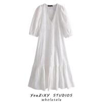 Dress Summer 2021 white XS,S,M,L Middle-skirt singleton  Long sleeves street V-neck High waist Solid color Socket A-line skirt other Others Type A Stitching, lace Europe and America