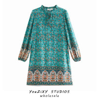Dress Autumn 2020 Red, green, beige S,M,L Short skirt singleton  Long sleeves street Decor Socket Lace up, stitching Europe and America