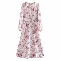 Dress Spring 2020 Decor S,M,L Mid length dress singleton  Long sleeves street Crew neck Decor Socket Stitching, printing Europe and America