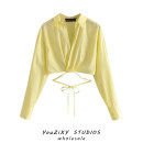shirt Yellow, white XS,S,M,L Summer 2020 other 71% (inclusive) - 80% (inclusive) Long sleeves street Short style (40cm < length ≤ 50cm) stand collar Single row multi button bishop sleeve Solid color High waist type Stitching, lacing