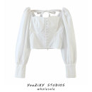 shirt white S,M,L Autumn 2020 other 71% (inclusive) - 80% (inclusive) Long sleeves street Short style (40cm < length ≤ 50cm) square neck Socket puff sleeve Solid color Splicing Europe and America