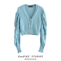 Wool knitwear Summer 2020 S,M,L blue Long sleeves singleton  Cardigan other 71% (inclusive) - 80% (inclusive) have cash less than that is registered in the accounts routine street easy V-neck puff sleeve Solid color Single breasted Splicing Europe and America