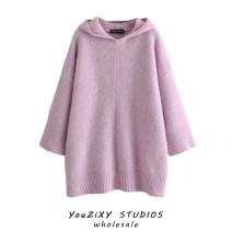 Dress Winter 2020 Pink S,M,L Short skirt singleton  Long sleeves street Hood Solid color Socket raglan sleeve Type A Splicing Europe and America