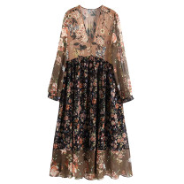 Dress Autumn of 2019 Decor S,M,L longuette singleton  Long sleeves street V-neck Decor Socket Europe and America