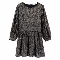 Dress Winter of 2019 Decor XS,S,M,L Mid length dress singleton  Long sleeves street Crew neck High waist Socket puff sleeve Stitching, sequins Europe and America