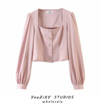 shirt Pink S,M,L other 71% (inclusive) - 80% (inclusive) Long sleeves street Regular square neck Single row multi button routine Solid color High waist type Splicing Europe and America