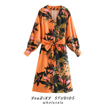 Dress Autumn 2020 Decor XS,S,M,L Mid length dress singleton  Long sleeves street V-neck Decor Socket puff sleeve Lace up, stitching Europe and America