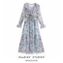 Dress Summer 2020 Decor XS,S,M,L longuette singleton  Long sleeves street V-neck Decor Socket Ruffles, stitching Europe and America