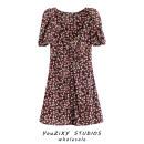 Dress Summer 2020 Decor XS,S,M,L Short skirt singleton  Short sleeve street square neck Decor Single breasted Fold, splice Europe and America
