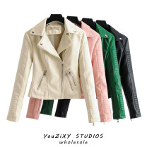 leather clothing Other / other Autumn 2020 S,M,L,XL Off white, pink, green, black have cash less than that is registered in the accounts Long sleeves Self cultivation street zipper PU Wash skin