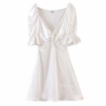 Dress Spring 2020 white S,M,L Short skirt singleton  Short sleeve street V-neck Solid color Socket Ruffle Skirt puff sleeve Splicing Europe and America