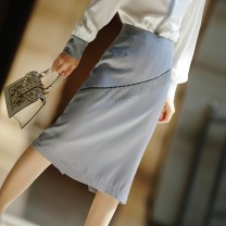 skirt Spring 2021 S,M,L,XL,2XL,3XL dark grey Middle-skirt commute Natural waist skirt Solid color Type H 30-34 years old B8593-B other zipper