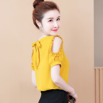 shirt Yellow, blue, red, white, pink, black [skirt] S,M,L,XL,2XL Summer 2020 other 30% and below Short sleeve commute Regular Crew neck Socket routine Solid color Self cultivation Other / other Korean version 5825# Bowknot, ruffle, lace, fold, three-dimensional decoration, resin fixation Chiffon