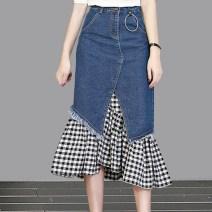 skirt Autumn of 2019 S,M,L,XL,2XL,3XL Mid length dress commute High waist Splicing style lattice Type A 18-24 years old 51% (inclusive) - 70% (inclusive) Denim cotton Korean version