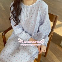 Nightdress Soft Honey Blue cherry nightdress, yellow cherry nightdress, pink cherry nightdress, love nightdress, white rabbit nightdress, blue cherry short, yellow cherry short, pink cherry short Average size Simplicity Long sleeves summer youth Crew neck cotton