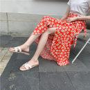 skirt Summer 2021 One size fits all Black chrysanthemum, red Chrysanthemum longuette Versatile High waist skirt Decor 25-29 years old Crepe de Chine other