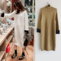 Dress Winter of 2019 Camel S,M,L,XL Mid length dress singleton  Long sleeves commute High collar Loose waist letter Socket Irregular skirt routine Others Type H Korean version Splicing 71% (inclusive) - 80% (inclusive) other cotton