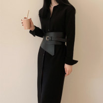 Dress Autumn 2020 black S,M,L,XL longuette singleton  Long sleeves commute Polo collar middle-waisted Solid color Socket One pace skirt routine Others Type H Korean version Frenulum LQ339 knitting cotton