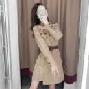 Dress Autumn 2020 Picture color S,M,L,XL Mid length dress singleton  Long sleeves commute stand collar High waist Solid color Single breasted Irregular skirt routine Others Type A Korean version Lace up, button 71% (inclusive) - 80% (inclusive) other cotton