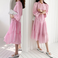 Dress Summer 2020 Pink S,M,L,XL Mid length dress singleton  three quarter sleeve commute Lotus leaf collar Loose waist Solid color Socket Pleated skirt shirt sleeve Others Type H Korean version Pleats, buttons 51% (inclusive) - 70% (inclusive) Chiffon cotton