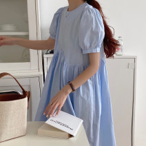 Dress Spring 2021 Sky blue, white, pink Average size longuette singleton  Short sleeve commute Crew neck High waist Solid color Socket Big swing puff sleeve Others 18-24 years old Type A Other / other Korean version 31% (inclusive) - 50% (inclusive) other other