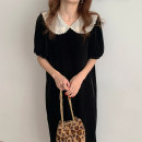 Dress Spring 2021 Black, brown Average size longuette singleton  Short sleeve Doll Collar Loose waist Solid color other other puff sleeve 18-24 years old Other / other
