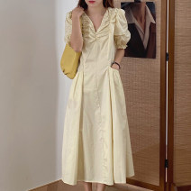 Dress Summer 2020 Yellow, black Average size longuette singleton  Short sleeve commute V-neck High waist Solid color Socket Big swing puff sleeve Others 18-24 years old Type A Other / other Korean version 31% (inclusive) - 50% (inclusive) other other