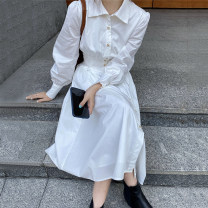 Dress Spring 2021 white S,M,L Mid length dress singleton  Long sleeves commute tailored collar High waist Solid color Single breasted A-line skirt puff sleeve Others 18-24 years old Other / other