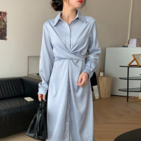 Dress Spring 2021 wathet Average size longuette singleton  Long sleeves tailored collar High waist Solid color Single breasted other other 18-24 years old Other / other
